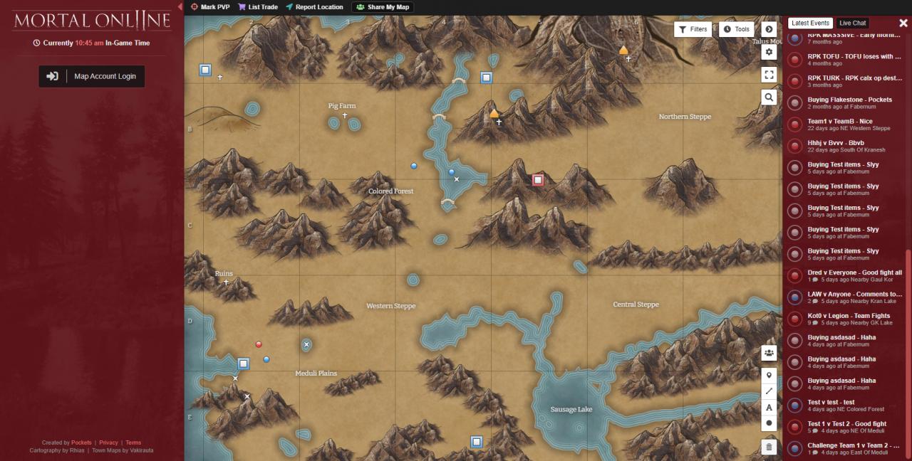 Guía de mapas de Mortal Online 2 (localizar recursos, ciudades, criaturas y mazmorras)