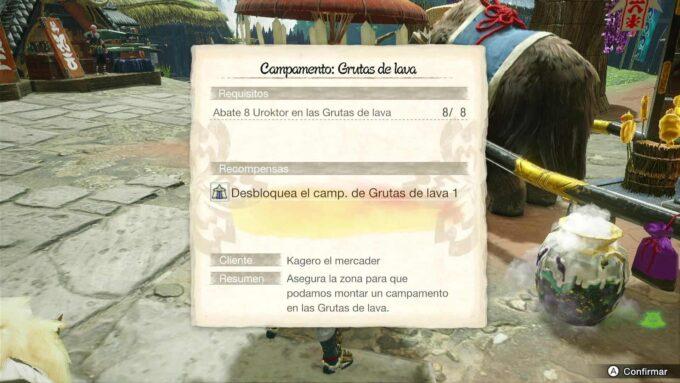 Campamento Grutas de lava 1 – Abate 8 Uroktor en Monster Hunter Rise