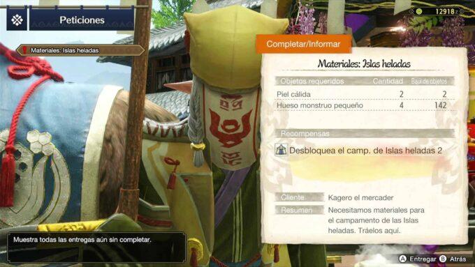 Campamento Islas Heladas 2 – Materiales para la petición en Monster Hunter 2