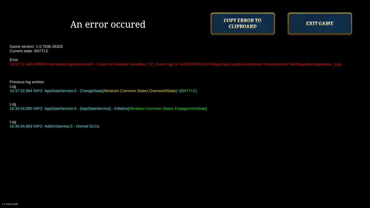 Roguebook Cómo arreglar el ERROR de GameboxEngineService