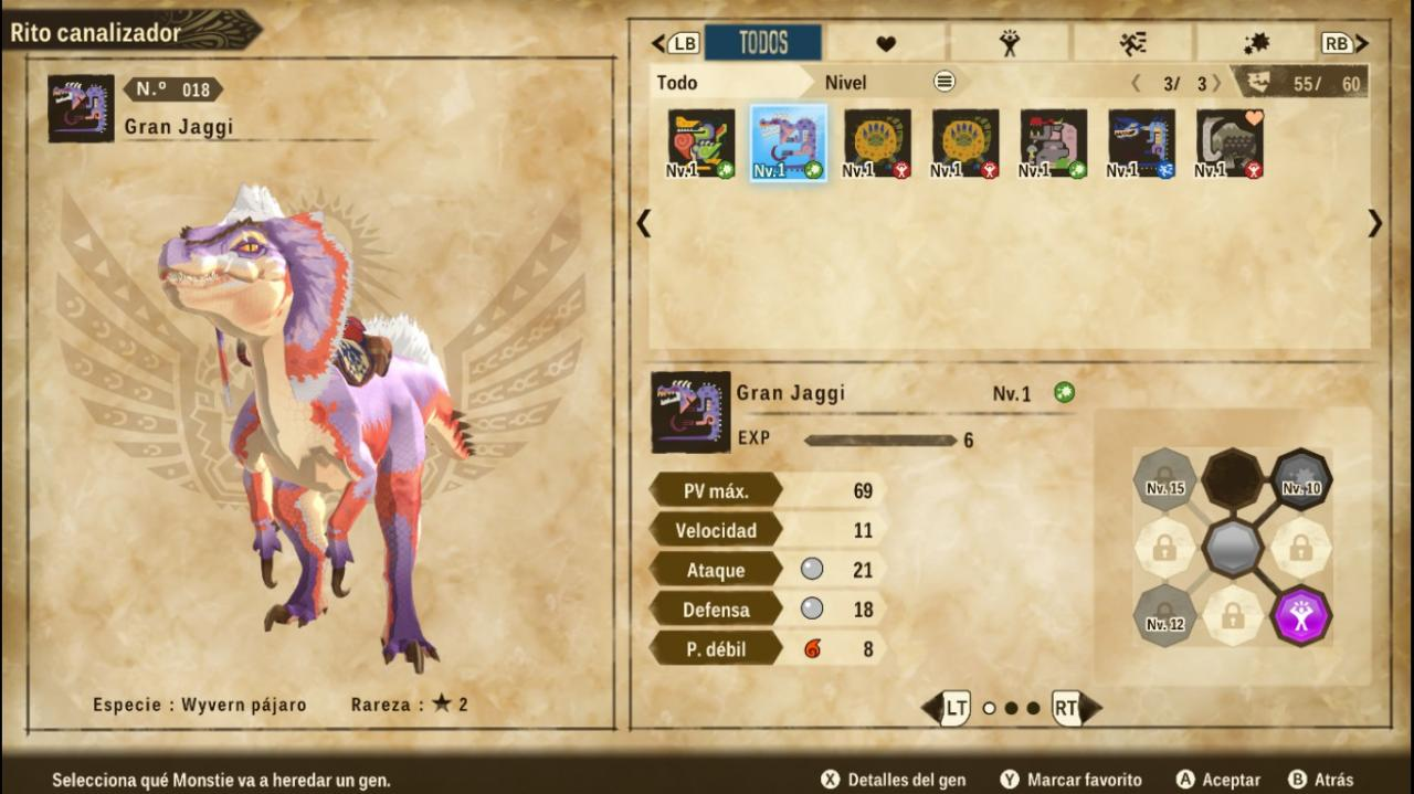 Monster Hunter Stories 2: Wings of Ruin Guía genética de monstruos
