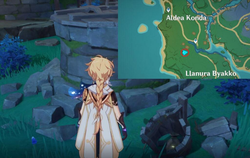 Saco do poço da vila de Konda com mapa