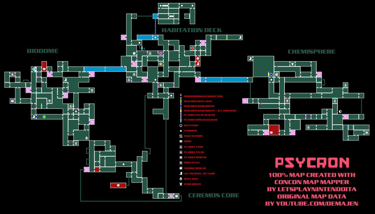 Mapa completo de PSYCRON con todos los elementos y secretos