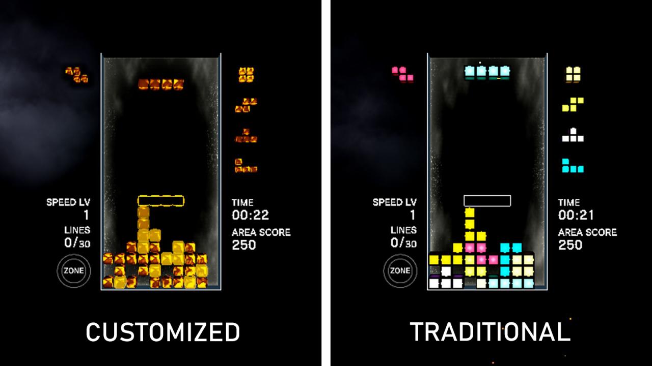 Efecto Tetris®: ajustes de inicio conectados y notas MP pequeñas