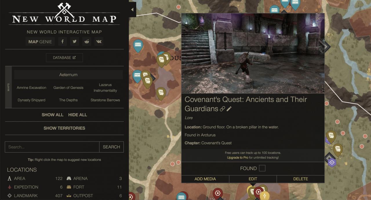 New World - Mapa interactivo (Todos los Conocimientos, Recursos, Enemigos, Animales, Motas, Expediciones) 1